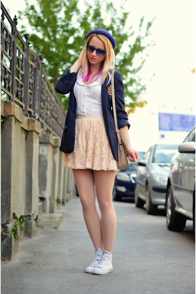250adda7b685e2 nude lace Forever 21 skirt - white Converse shoes - deep purple bowler H M  hat