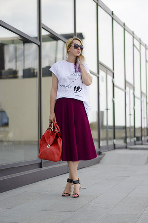 magenta full asos skirt - red Zara bag - black H&M sunglasses