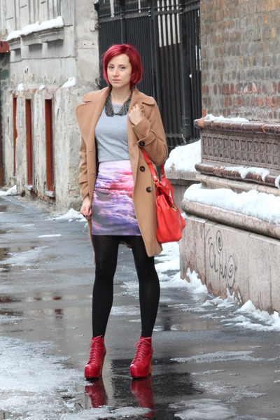 red Chicwish skirt - ruby red Jeffrey Campbell boots - tan Topshop coat