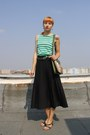 Aquamarine-zara-shirt-green-thrifted-bag-black-thrifted-skirt
