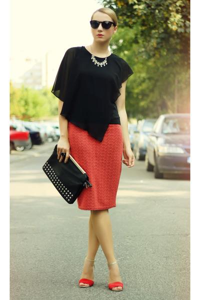 black nowIStyle shirt - black Stradivarius bag - black H&M sunglasses
