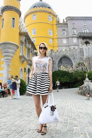 black H&M sandals - white Lolliops bag - black striped H&M skirt