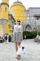 black H&M sandals - white Lolliops bag - black striped H&M skirt