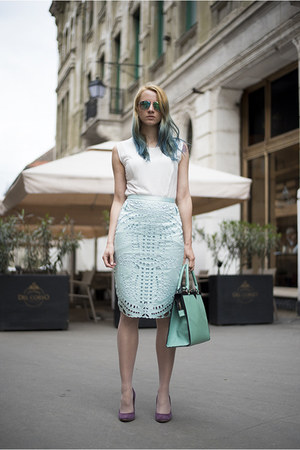 aquamarine nowIStyle bag - light blue perforated H&M skirt
