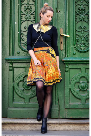 black cut out Stradivarius boots - black thrifted sweater - yellow vintage skirt