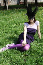 black mask venetian accessories - purple Converse shoes - purple Self Made dress