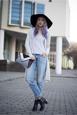heather gray new look bag - black Stradivarius boots - blue boyfriend H&M jeans