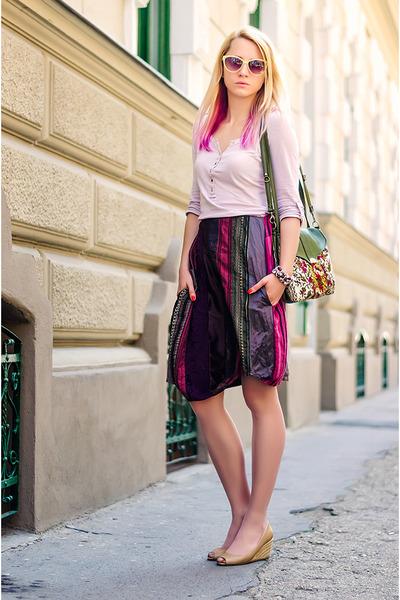 purple patchwork random skirt - eggshell Bershka shirt