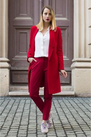 red poema pants - white H&M shirt - light purple Adidas sneakers