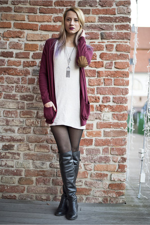 black over the knee Filty boots - maroon Zara cardigan - silver H&M necklace