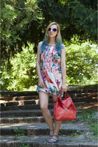 red Zara bag - aquamarine floral print H&M dress - blue Zara sandals