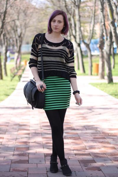 green neon nowIStyle skirt - black random boots - black nowIStyle sweater