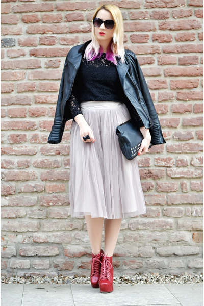 tan tulle nowIStyle skirt - black litas Jeffrey Campbell boots