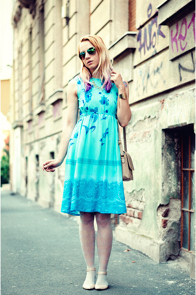 turquoise blue floral print vintage dress - beige nowIStyle bag