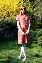 red thrifted vintage dress - light blue random tights - heather gray Stradivariu