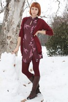 puce thrifted dress - dark brown Alto Gradimento boots - maroon Mondex tights