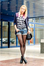 Black-ankle-h-m-boots-navy-thrifted-blazer-heather-gray-bershka-shirt