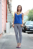 amethyst Filty shoes - black stripes pants - blue top