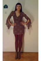 brown H&M dress - red charme tights - brown AMANDA boots - brown vintage purse