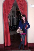 blue H&M cardigan - purple Forever 21 blouse - gray Macys leggings - brown SoGo