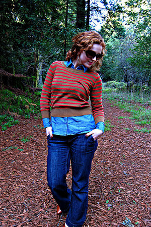 Mango sweater - banana republic jeans - banana republic shirt - vintage heels