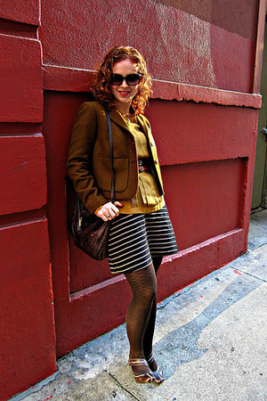 Anthropologie blazer - Target dress - madewell shirt - HUE tights