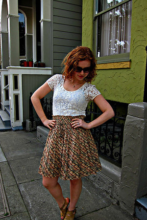 Anthropologie skirt - banana republic blouse - Anthropologie heels