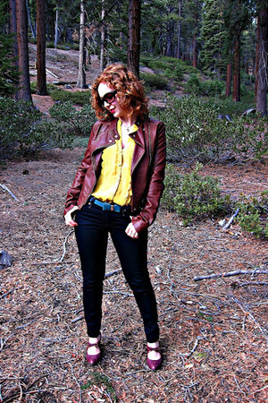 thrifted jacket - Therapy jeans - Anthropologie shirt - naturalizer heels