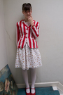 Red-kenzo-jacket-white-handmade-skirt-red-camper-shoes