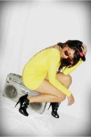 yellow Skulls and Bones dress - Greenhills boots - red sunglasses - black Disney
