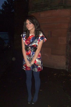 silver Schuh shoes - red orion dress - blue asos tights - black orion belt - sil