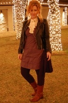 dress - jacket - Frye boots - blouse