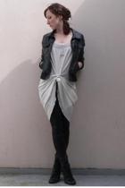 H&M kids jacket - vintage nightgown dress - pimkie lam legging tights - new look