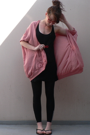 pink cardigan storets coat - black flip flops shoes - gray H&M dress
