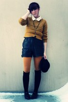 mustard Bershka sweater - ivory American Apparel blouse - mustard Zara tights -