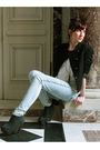 Black-somewhere-jacket-blue-topshop-jeans-black-boohoo-shoes-brown-baby-sa