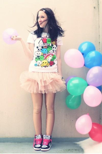 beige American Apparel leggings - white journeys t-shirt - pink H&M skirt