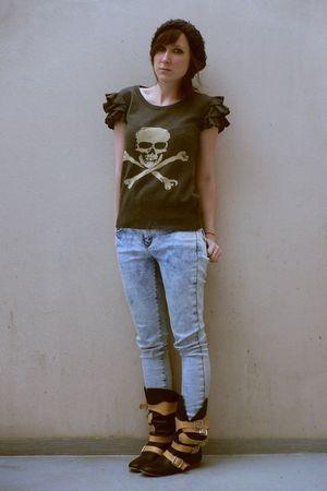 gray Topshop top - blue Topshop jeans - black vivienne westwood boots