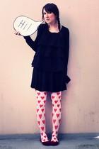black H&M cardigan - black H&M shirt - black H&M skirt - white H&M stockings - r
