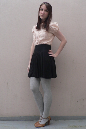 beige Naf Naf shirt - black H&amp;M skirt - silver  tights - beige Tex shoes