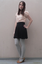 beige Naf Naf shirt - black H&M skirt - silver  tights - beige Tex shoes
