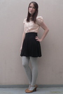 Beige-naf-naf-shirt-black-h-m-skirt-silver-tights-beige-tex-shoes