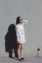 H&M shorts - sunglasses - free people blouse - top - H&M sandals