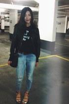 Topshop shoes - Topshop jeans - le chateau jacket - thrifted shirt - H&M bag