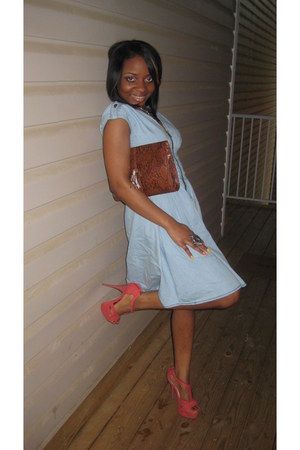 denim H&M dress - H&M purse - coral Bakers sandals
