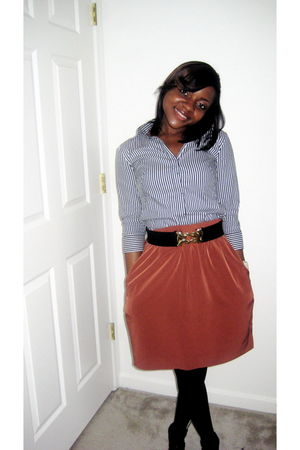 banana republic shirt - thrift skirt - Forever 21 belt
