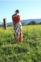 orange paisley thrifted dress