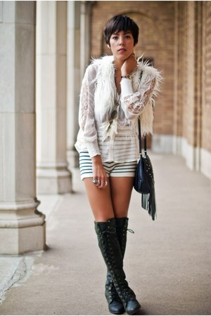 Jeffrey Campbell boots - Sparkle & Fade shorts - Forever 21 blouse