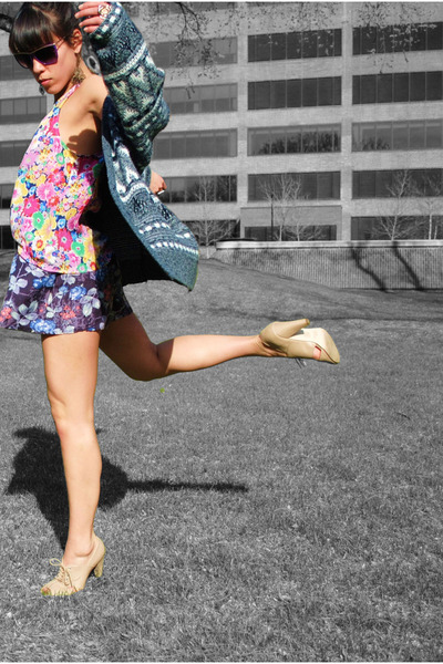 thrifted cardigan - Forever 21 blouse - thrifted shorts - Forever 21 shoes