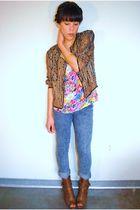 Ebay cardigan - Forever 21 jeans - Forever 21 blouse - Forever 21 boots